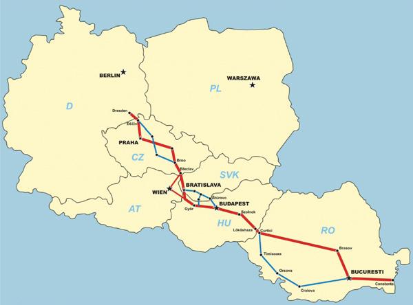 6. ábra. Az ERTMS E korridor